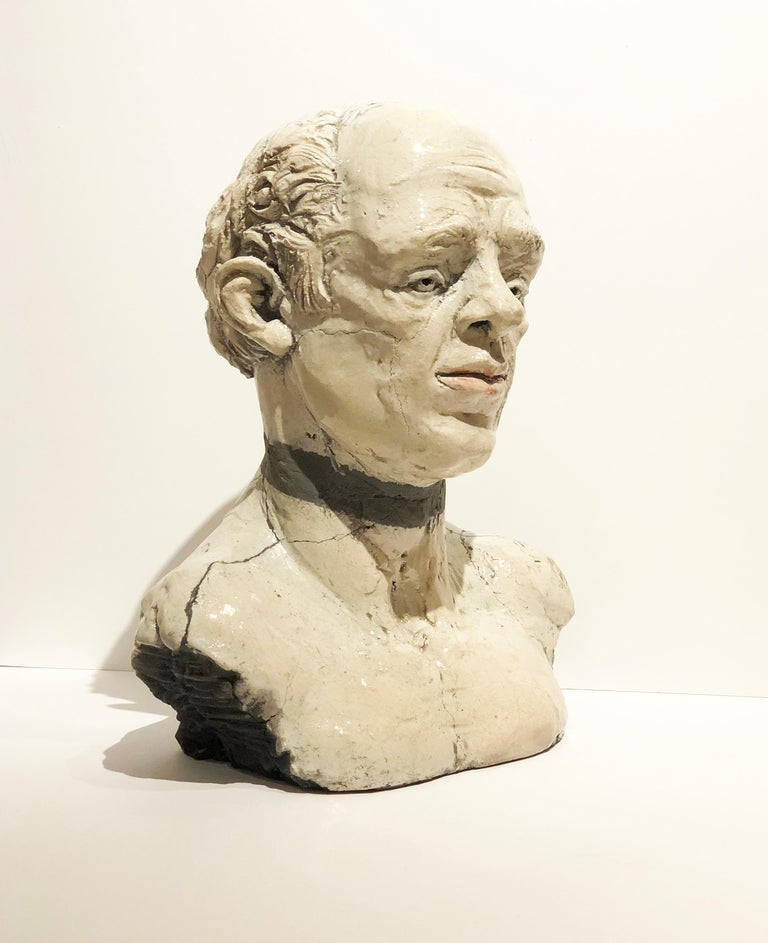 George, Raku Fired Modern White Ceramic Bust of Male Head by Pavel Amromin For Sale 7