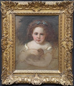 Portrait of Girl with Puppy - British Victorian portrait oil painting dog art