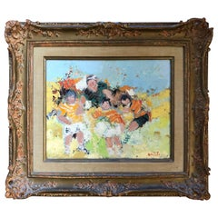 "George Rene Sinicki ""Futbol Match"" Original Oil on Canvas, circa 1950s"