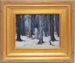 19th Century American Impressionist Winter Forest View by George Renouard
