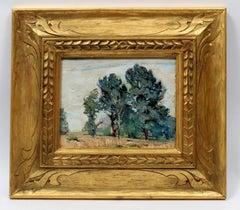 American Modernist Landscape Oil Painting New York George Renouard Framed gold