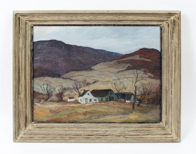 Antique American Impressionist Panoramic New York River Valley Oil Painting - Brown Landscape Painting by George Renouard