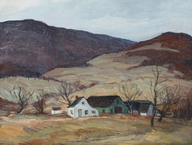 Antique American impressionist oil painting of a New York River Valley by George A. Renouard (1885 - 1954).  Oil on canvas, circa 1920.  Signed on verso.  Displayed in a period modern frame.  Image, 24
