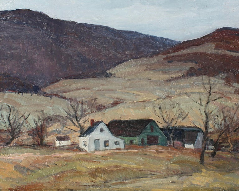 Antique American Impressionist Panoramic New York River Valley Oil Painting For Sale 1