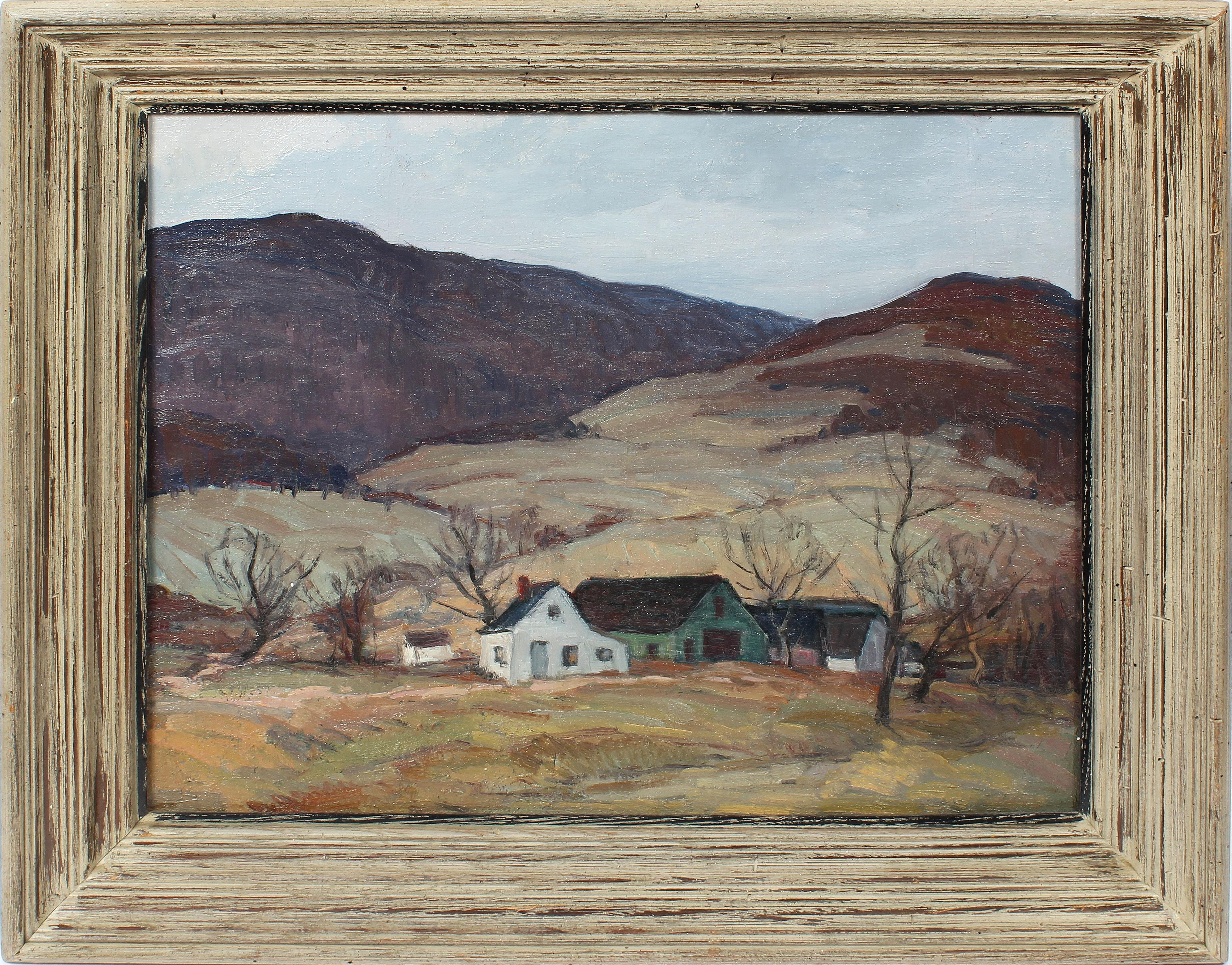 Antique American Impressionist Panoramic New York River Valley Oil Painting