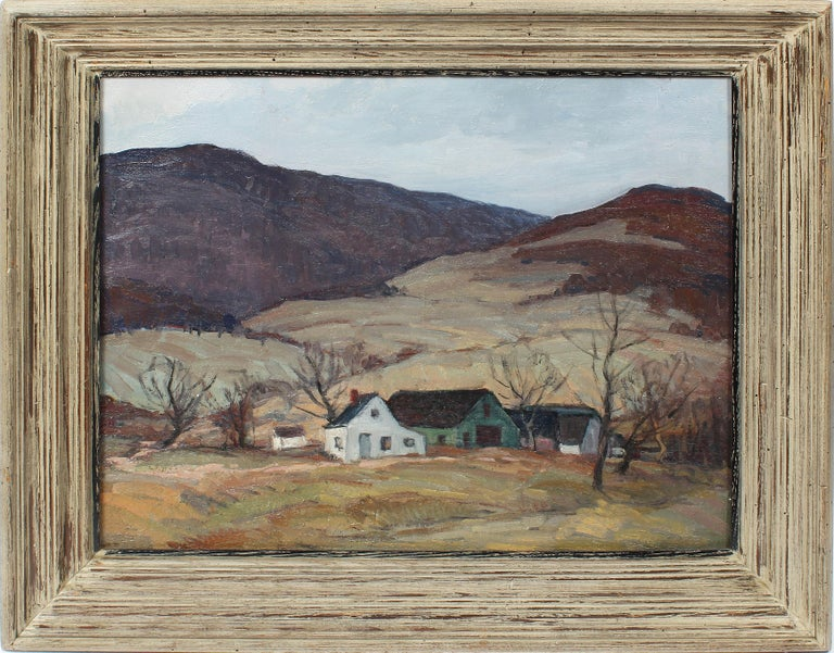 George Renouard Landscape Painting - Antique American Impressionist Panoramic New York River Valley Oil Painting