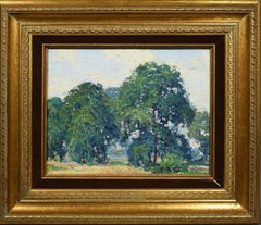 Antique American Plein Aire Impressionist Summer Landscape New York Oil Painting