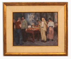 George Renouard American Impressionist 1930's Oil Painting Figures Market