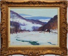 Impressionist Winter Landscape New York Snow View Oil Painting, George Renouard