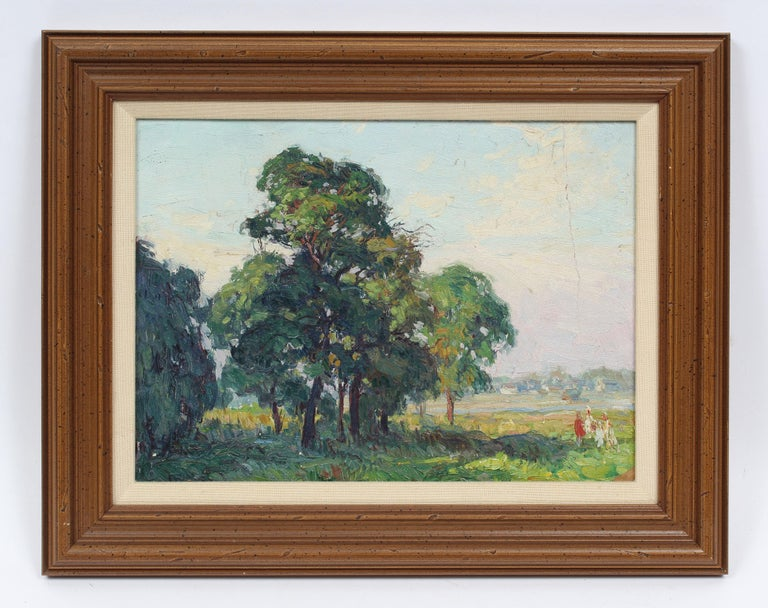 Oaks at Bergen Beach, NY Impressionist Summer Landscape Original Oil Painting - Brown Landscape Painting by George Renouard