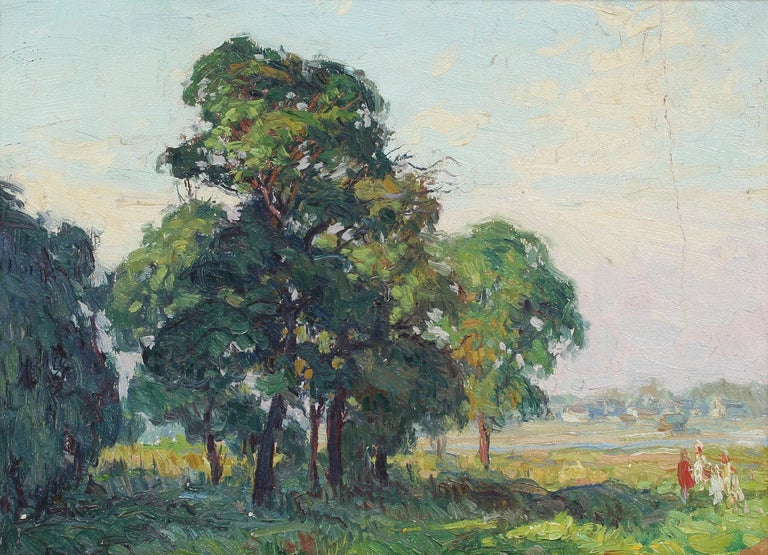 Antique impressionist oil painting of a Oak trees at Bergen Beach, NY by George A. Renouard (1885 - 1954).  Oil on board, circa 1927. Signed and titled on verso in pencil.  Displayed in a gold frame.  Image, 12