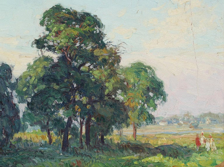 Oaks at Bergen Beach, NY Impressionist Summer Landscape Original Oil Painting For Sale 1