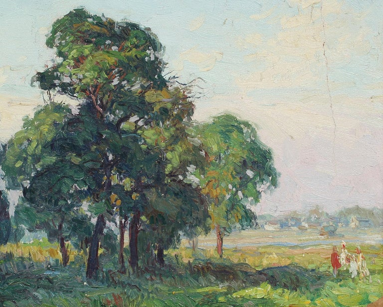 Oaks at Bergen Beach, NY Impressionist Summer Landscape Original Oil Painting For Sale 2