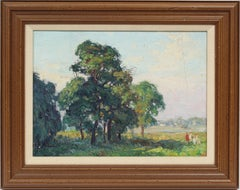 Oaks at Bergen Beach, NY Impressionist Summer Landscape Original Oil Painting