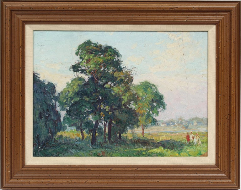 George Renouard Landscape Painting - Oaks at Bergen Beach, NY Impressionist Summer Landscape Original Oil Painting