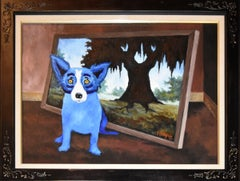 """Blue Dog """"I Remember This"""" Original Oil on Canvas"""
