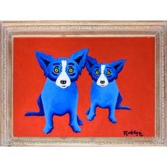 """Blue Dog """"Original - Hot Days Ahead"""" Signed Framed Artwork"""