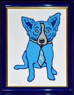 """Blue Dog """"Original Untitled MM I""""  Silkscreen and Oil on Canvas"""