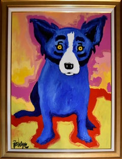 Original - Chien Bleu - Signed Oil & Acrylic on Canvas - Blue Dog
