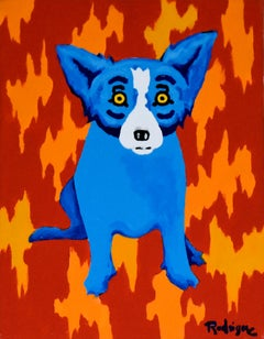Original - Fire Wall - Signed Acrylic on Canvas - Blue Dog