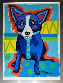 Original MM A4-10 - Signed Silkscreen & Acrylic Paint on Paper Blue Dog Painting