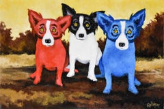 Original - Split Personality - Signed Oil on Canvas Blue Dog
