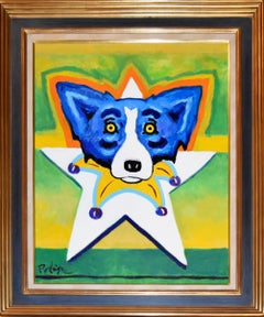 Original - Star of Mardi Gras - Signed Acrylic on Canvas - Blue Dog