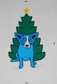 A Blue Christmas Without You - Signed Silkscreen Print - Blue Dog