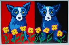 A Chorus Line of Flowers - Signed Silkscreen Print Blue Dog