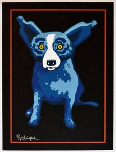 A Midnight Drink on Canvas - Signed Silkscreen Print Blue Dog