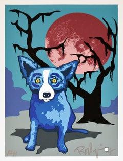 A Night with My Best Friend - Signed Silkscreen Print - Blue Dog
