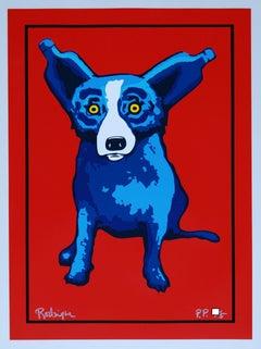 Absolut Dog - Signed Silkscreen Blue Dog Print