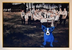 Aioli Dinner Dog - Signed MM Canvas Board/Giclee Print with Painted Blue Dog