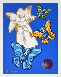 Angel Baby - Signed Silkscreen Print Blue Dog Holiday Print Sale