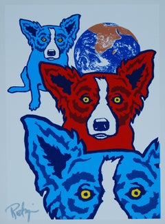 Between My Good Brothers White - Signed Silkscreen Blue Dog Print