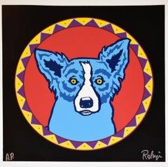 Big Chief Blues - Silkscreen Signed Print - Blue Dog