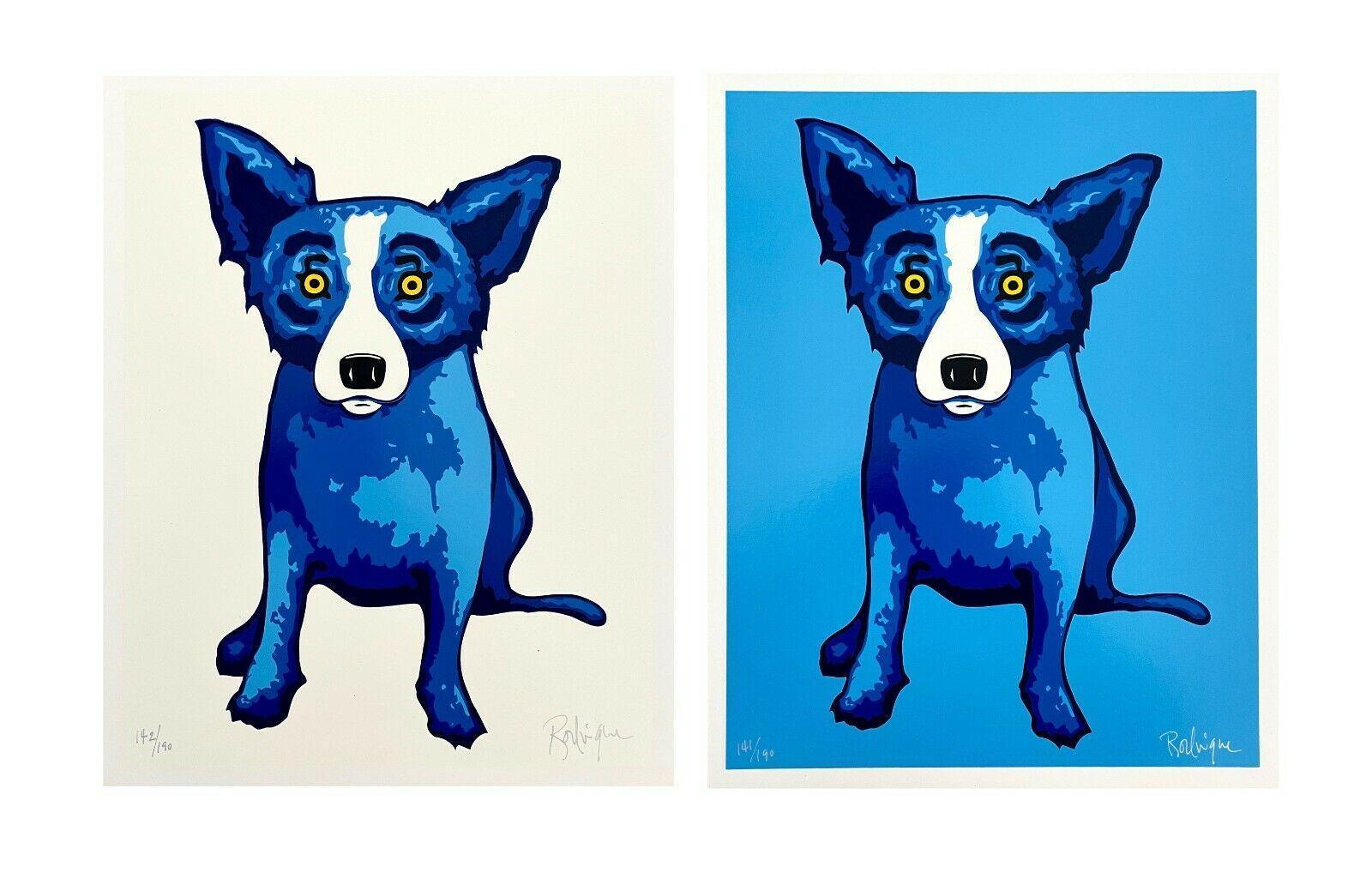 Blue Dog Diptych (2 artworks), Ltd Ed Silkscreens, George Rodrigue SIGNED