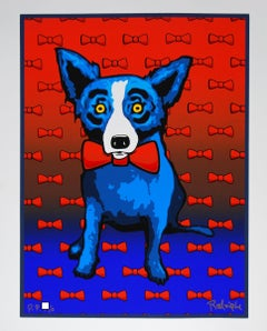 Blue Dog Does the Red Tie - Signed Silkscreen Print Blue Dog