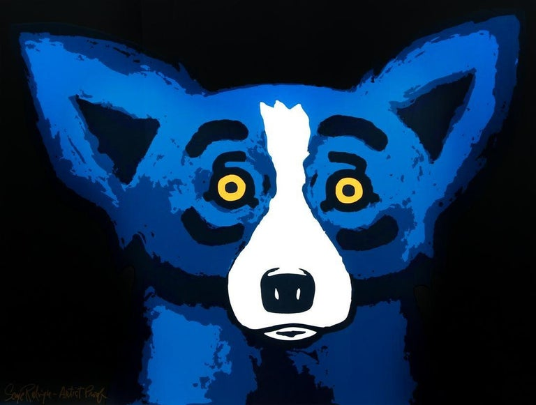 BLUE DOG - HEAD OVER HEELS BLACK - 2002 ARTIST PROOF - Print by George Rodrigue