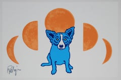 Blue Phases White - Signed Silkscreen Blue Dog Print