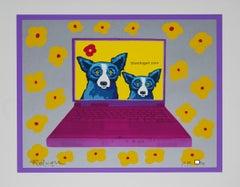 Bluedogart com Yellow Flowers - Signed Silkscreen Print Blue Dog