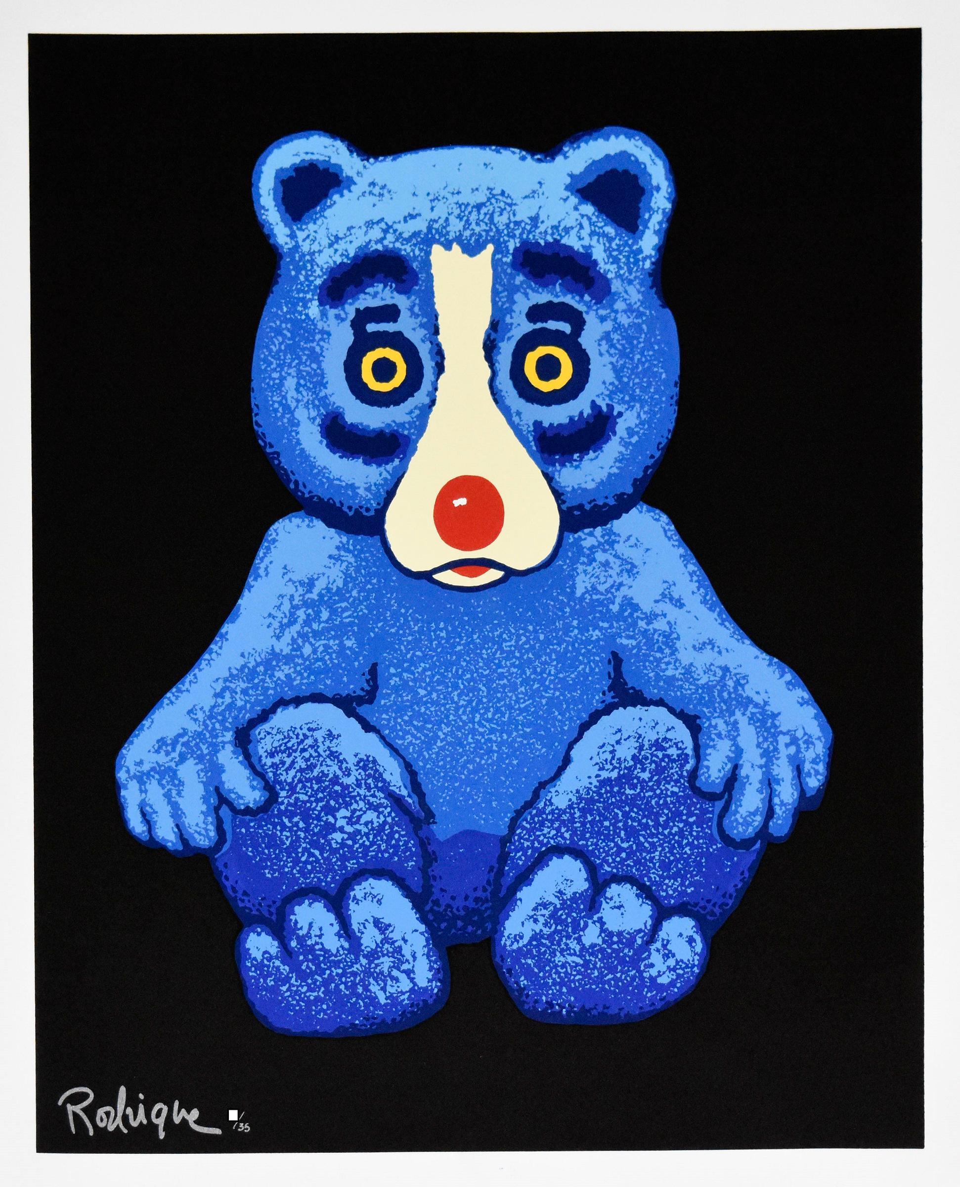 Boogie Bear - Black - Signed Silkscreen Print - Blue Dog