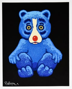 Boogie Bear - Black - Signed Silkscreen Print - Blue Dog