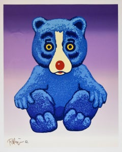 Boogie Bear - Split Font - Signed Silkscreen Print - Blue Dog
