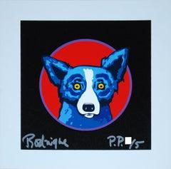 Bullseye Black - Signed Silkscreen Blue Dog Print