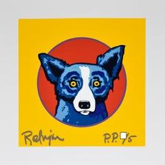 Bullseye Yellow - Signed Silkscreen Print Blue Dog