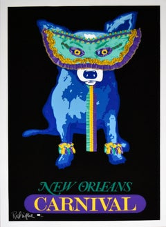 Carnival Time - Black - Signed Silkscreen Print - Blue Dog