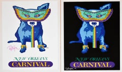 Carnival Time - White/Black - Set of 2 - Signed Silkscreen Print - Blue Dog
