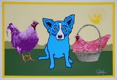 Chicken In A Basket Yellow Moon - Signed Silkscreen Blue Dog Print
