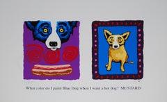 Color Me Mustard - Signed Silkscreen Blue Dog Print